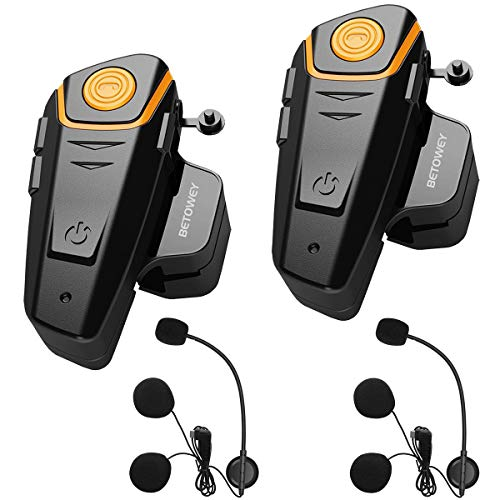 Intercom Moto Duo pour 2 Casques, BETOWEY BT-S2 Kit Oreillette Bluetooth Moto Interphone Main...