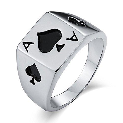Anyeda Schmuck Ring Herrenring Edelstahl Siegelringe Punk Bands Poker Ace Rechteck Silber Größe 57 (18.1)