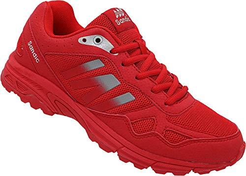 Herren Sportschuhe Sneaker Turnschuhe Laufschuhe Schuhe Runners Nr. 2034 (rot-grau, Numeric_46)