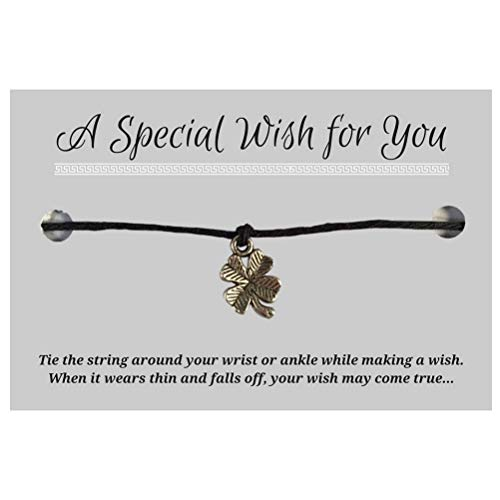 Lucky Clover Black Wish Bracelet - Hemp with Silver Tone Charm on Printed Card - Adjustable - Unisex