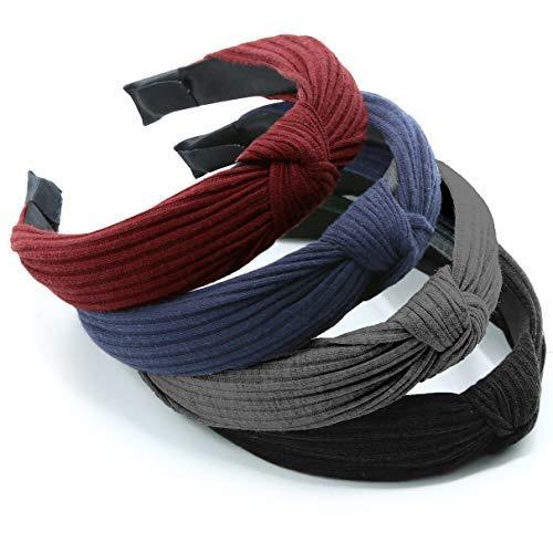 Diadema de nudo para mujeres/niñas Pack 4 – Headwear turbante elástico banda para el pelo – ancho, elástico y anudado con…