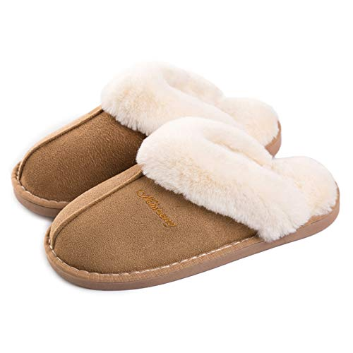 Lastia Damen Hausschuhe Winter Warm Faux Pelz Slipper Weiche Flache Plüsch Pantoffel Rutschfeste Outdoor/Indoor- 36.5/38 EU, Etikettgröße: 270 (40-41) , Hellbraun