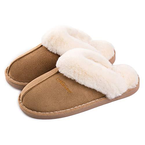 Lastia Damen Hausschuhe Winter Warm Faux Pelz Slipper Weiche Flache Plüsch Pantoffel Rutschfeste Outdoor/Indoor- 38.5/40 EU, Etikettgröße: 280 (42-43), Hellbraun