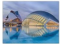 バレンシアの芸術科学都市の建物、芸術絵画、居間の装飾のための絵画、フレームなしの20x28インチ