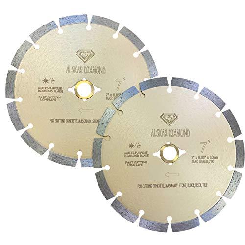(2 Pack) ALSKAR DIAMOND USA ADLSS 7 inch Dry or Wet Cutting General Purpose Power Saw Segmented Diamond Blades for Concrete Stone Brick Masonry (7' - 2 pcs)