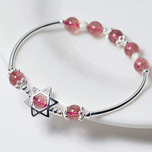 S925 Silver Six Pointed Star Natural Strawberry Crystal Round Bead Bracelet Feng Shui Chinese Gifts for Men/Women Attract Money for Good Fortune Courageous Lucky And Wealth Bring Prosperity