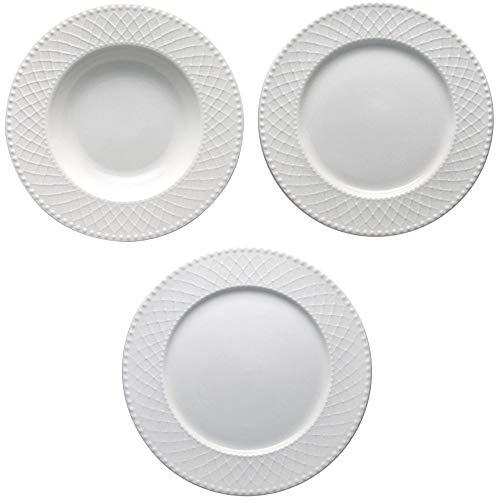 Brandani 53369, Set Tavola 18 Piatti Burlesque porcellana bianco diametro del piatto piano cm 27,...