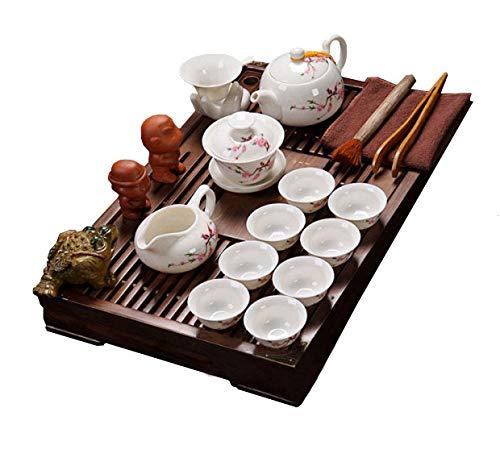ufengke Kung Fu Set Da Tè Servizio Da Tè Cinese, Motivo Fiore Di Pesco, Servizio Da Tè In Ceramica Classico Con Vassoio Del Tè Legno, Per Regalo, La Famiglia E Ufficio -Bianco