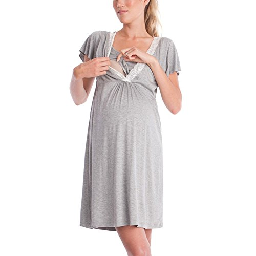 WEIMEITE 2 in1 Maternité Nursing Nursery Nightdress Chemise de Nuit Allaitement Chemise de Nuit Chemise Robe Gris Clair M