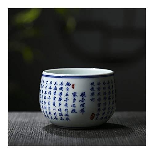 MADONG Taza de piña Mano Escritura a Mano Sabiduría Sutra Sutra del Corazón Azul y Blanco Taza Manuscrita (Size : 51-100ML)
