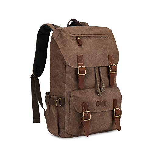 Kattee Men's Canvas Leather Hiking Backpack Travel Rucksack School Bag