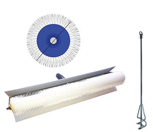 Entlüftungsroller Entlüftungsrolle 50 cm Entlüftungswalze + Mixer 500 mm - Betonentlüfterrolle mit Spritzschutz Stachellänge: 31 mm