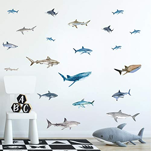Under The Sea Kids Wall Stickers(35Pcs),Ocean Animal Shark Whale Wall Decal,Fish Wall Decals, Under The Sea Theme Sticker for Kids Room Bathroom Nursery Wall Art Decor Home Decoration