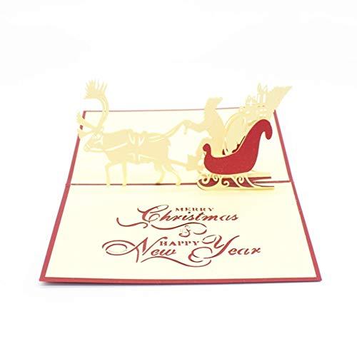 Vakantie levert Fangqiao shop kerstwild-auto-stereogroetkaart, papier-gesneden snijdende kerstmis-ansichtkaart-grot