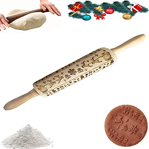 KOXHOX Christmas Wooden Rolling Pins Distinctived 3D Engraved Designs Laser Embossing Dough Rolling Pin with Elk,Santa Claus,Christmas gifts and Snowflakes