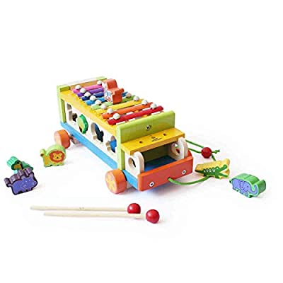 Shumee Natural Wood Musical Activity Truck, All-in-One Xylophone, Shape Sorter and Pull Along Truck, Ages 2+