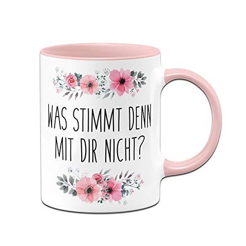 Tassenbrennerei Tasse mit Spruch was stimmt denn mit Dir Nicht? - Kaffeetasse lustig - Spülmaschinenfest (Rosa)