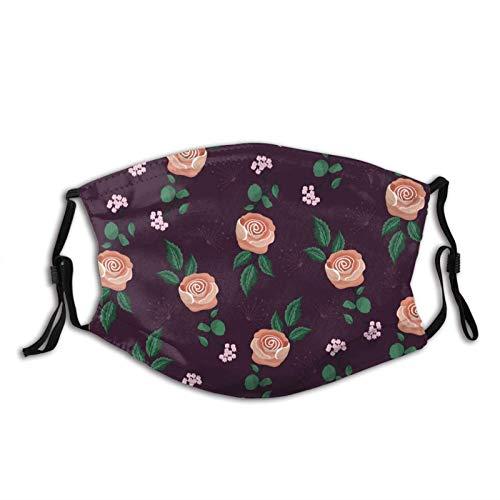 Máscara facial vintage floral unisex pasamontañas cubierta de la boca con filtro resistente al viento a prueba de polvo máscara ajustable