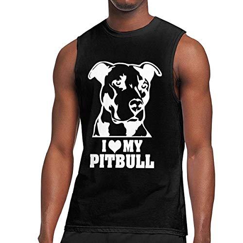 WLQP Camiseta sin Mangas para Hombre l Love My Pitbull-1 Mens Tanks Gym Sport Underwear Shirt