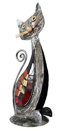 Chat Forme Acier Bougie/Thé Lumière, Support Couleur Argent Main Fabriqué en Bali Mosaïque Miroir Décoration
