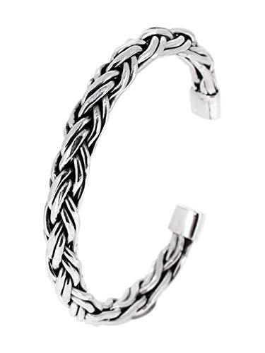 TreasureBay Brazalete de plata de ley 925 para hombres, brazalete abierto trenzado