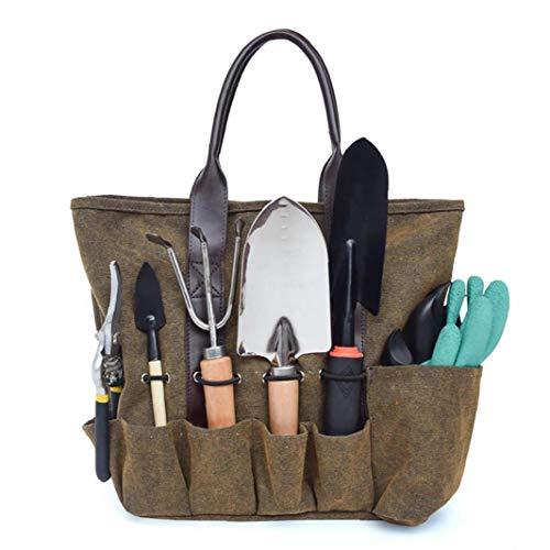 linjunddd Leinwand-Garten-Werkzeug-Taschen-Tasche Wear-Resistant Wiederverwendbare Gartengeräte-Speicher-Organisator-Einkaufstasche zu DIY