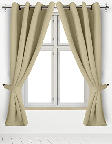 Utopia Bedding 2 Panels Grommet Blackout Curtains with 2 Tie Backs,...