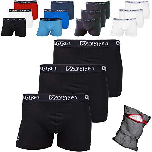 Kappa Herren Boxershorts ZiATEC Edition | Unterhose für Herren, S-5XL mit praktischem Wäschenetz, 3er, 6er und 9er Packs - Männer-Unterwäsche, Größe:4XL, Farbe:9 x schwarz