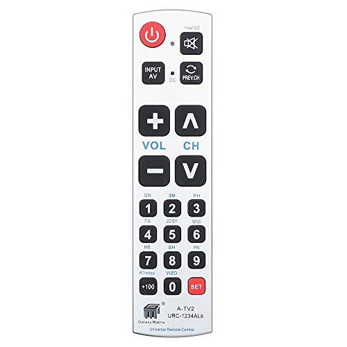 Alkia Big Button Universal Remote Control A-TV2, Initial Setting for Lg, Vizio, Sharp, Zenith, Panasonic, Philips, RCA - Put Battery to Work, No Program Needed for Seniors