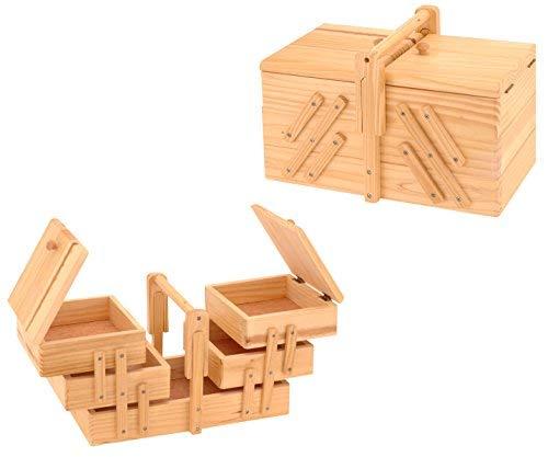 Spetebo Holz Nähkästchen ausklappbar - Nähkasten Nähkiste Nähkorb Näh Box Aufbewahrung