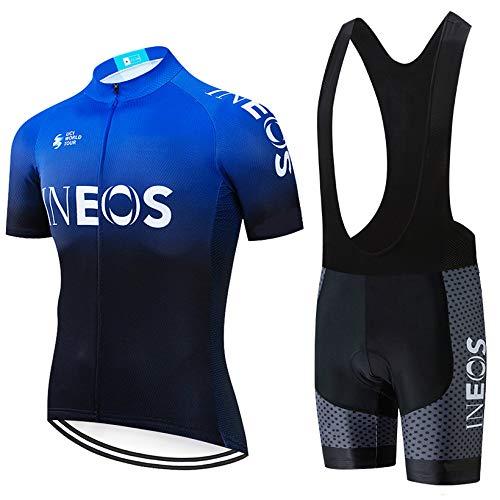 ADKE Conjunto Ropa Ciclismo Hombre, Traje MTB Maillot Bicicleta Mangas Cortas+3D Gel Culotte Pantalones Cortos Verano Equipacion Ciclismo (L, INEOS-BK2)