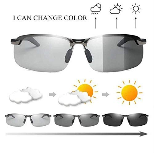Men's Photochromic Sunglasses with Polarized Lens,Ultra Light Metal Frame Goggles for Outdoor Sports UV Protection, Anti Glare, Reduce Eye Fatigue