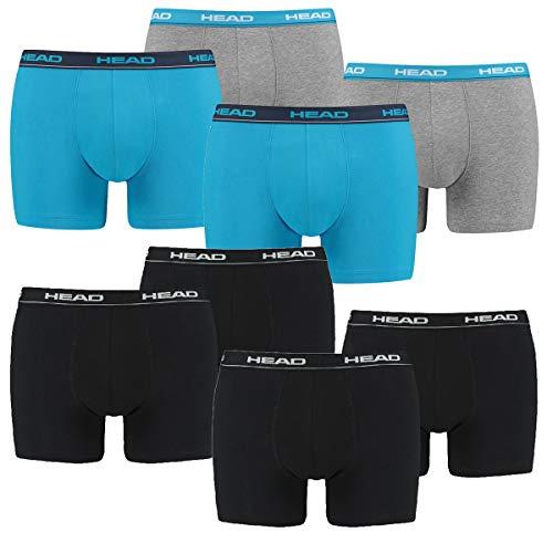 HEAD 8 er Pack Herren Boxer Boxershorts Basic Pant Unterwäsche, Farbe:Schwarz/Blau/Grau, Bekleidungsgröße:L