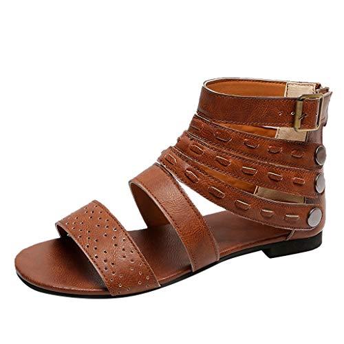 DressLksnf Sandalias Planas Mujeres Bohemia Tobillera Correa Redonda Peep Clip Punta Zapatos Gladiador Correa Tanga Flip Flop Zapatos de Playa Cuña