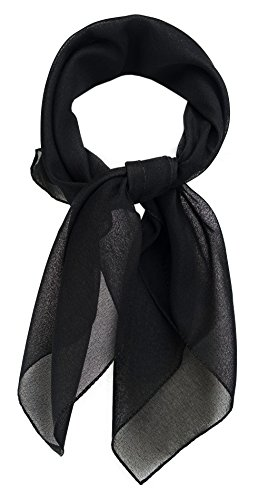 TigerTie Feines Damen Chiffon Nickituch in schwarz einfarbig Uni - Größe 58 cm x 58 cm - Tuch Halstuch Schal