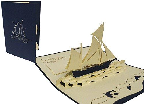 Pop Up 3D Architektur Transport Grußkarte, Motiv Segelboot Reisegutschein Karten zum Sammeln
