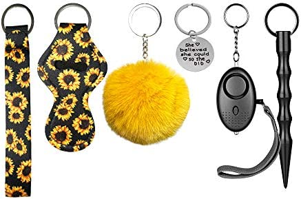 Keychain Set for Woman with Personal Safety Alarm Kubaton Window Breaker Tool Pom Pom and Lip product image