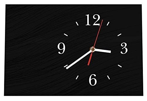 LAUTLOSE Designer Tischuhr anthrazit schwarz Abstrakt Standuhr modern Dekoschild Bild 30 x 20cm