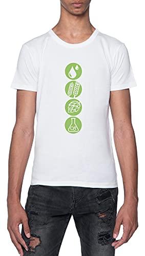 Cómo A Fabricar Cerveza Agua Cebada Lúpulo Levadura Camiseta Blanca para Hombre De Manga Corta con Cuello Redondo White T-Shirt Mens XXL