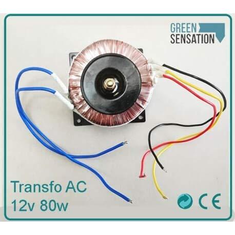 Transformateur à bobine 12V AC 80w avec fixations