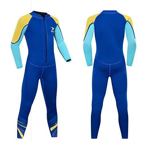 ZCCO Kids Neoprenanzug, 2,5 mm Neopren-Thermo-Badeanzug, Jugend-Badeanzug für Jungen und Mädchen Wärmeanzug mit Langen Ärmeln zum Tauchen, Schwimmen, Surfen … (Hellblau, XXS)