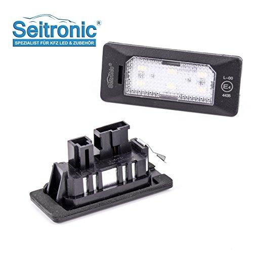 Seitronic Led Kennzeichenbeleuchtung 6000K Xenon-Weiß für Ersatz Nummernschilder Lampe Plug & Play 12-SMD Kennzeichen Beleuchtung 12V DC 2 Stück Energieklasse A+