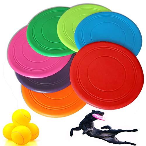 Binjor 10Pcs Interactivos Perros Frisbee de Goma Multicolor Disco Volador de Silicona Tenis vocal para mascotas Dientes molares resistentes a la mordedura para Adiestramiento de Perros Juguetes