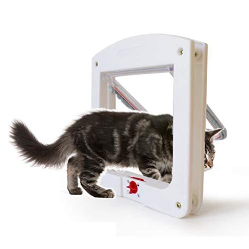 YUEBAOBEI Hunde Katze Haustierklappe, Intelligente Steuerung Hund Katzentür Katzenklappe 4 Wege Magnet Energieeffizient Zugluftauss Installieren Leicht Hundeklappe,A