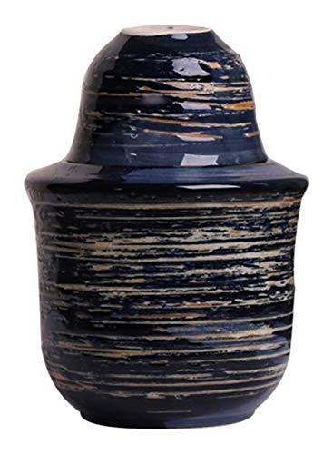 Cerámica Sake japonés Conjunto Japonesa Conjunto del Motivo, 3-Piece Set Blue Glaze Textura Diseño Tazas de cerámica, artesanía Copas de Vino, for el frío/Caliente/té Mejor Regalo Shochu/de la F