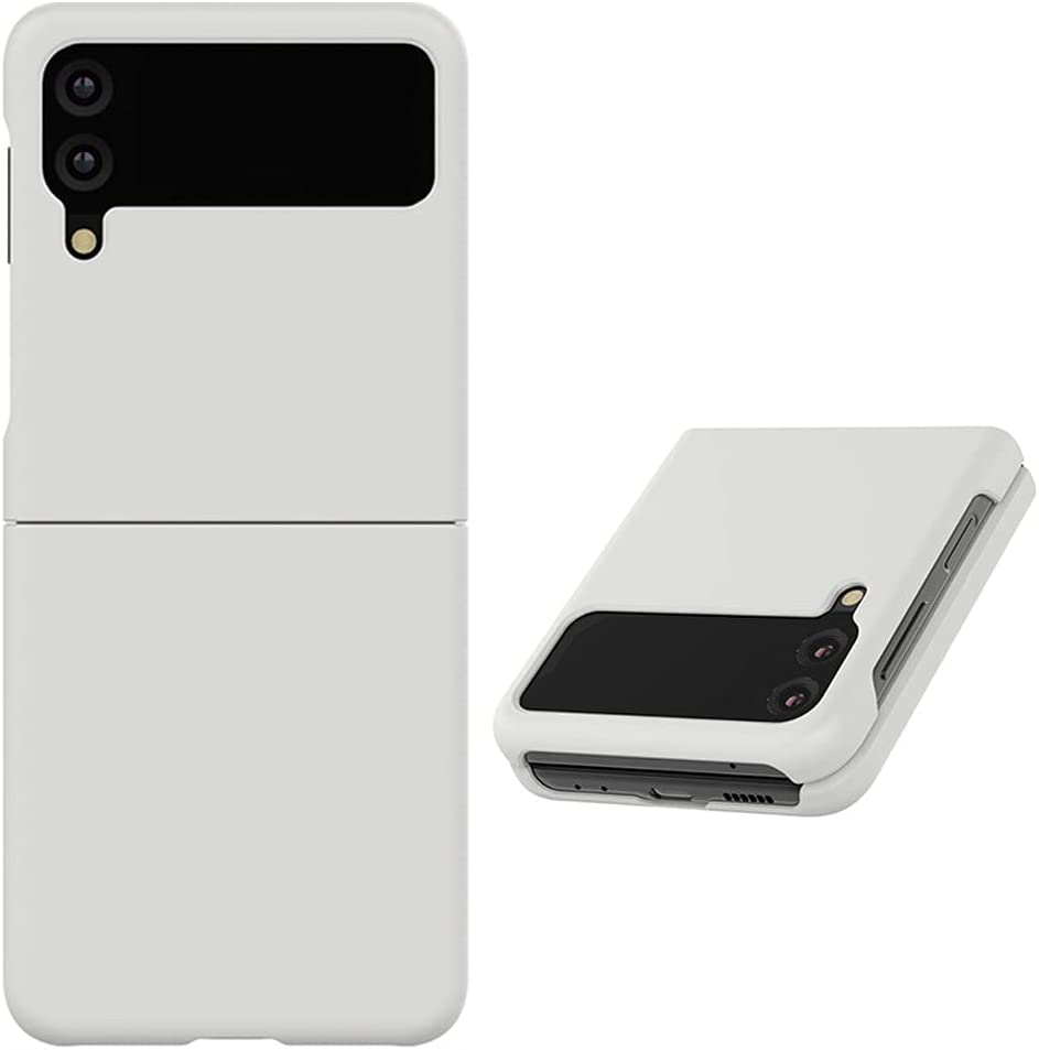 Alpha Pastel Slim Hard Designed for Galaxy Z Flip 3 5G Case (2021), Wireless Charging Support After Wearing (Gray)