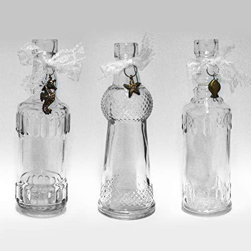 DRULINE 3er Set Dekoflasche Glasflasche Shabby Chic Landhaus Flakon Glas Dekoration Deko (3er Sparset)