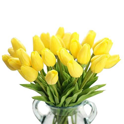 chunqi Fiori Artificiali, Bouquet di Fiori Finti in Seta Tulip Real Touch Bridal Wedding Bouquet for Home Garden Party Floral Decor 10 pz ( Giallo )
