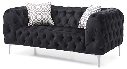 Glory Furniture Astoria Loveseat, Black. Living Room Furniture, 30' H x 65' W x 34' D