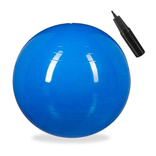 1 x Gymnastikball, Fitnessball Yoga & Pilates, Sitzball Büro, Balance Ball inklusive Luftpumpe, Ø 55 cm, blau